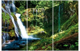Waterfalls - Mountain Cascade In Green Forest, 3 Parts