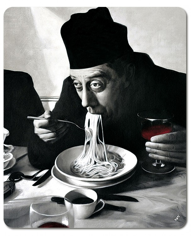 Don Camillo Table Spaghetti Vin Rouge Poster Affiche #65497 91x30cm Cuisine