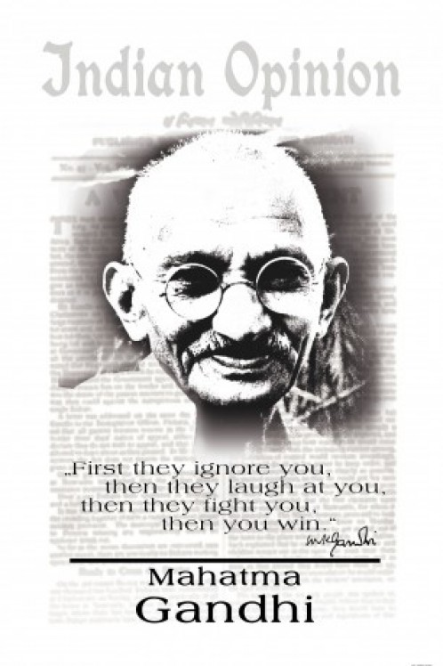 Selbstklebende Poster Tapete : Mahatma Gandhi Quote First They Ignore You