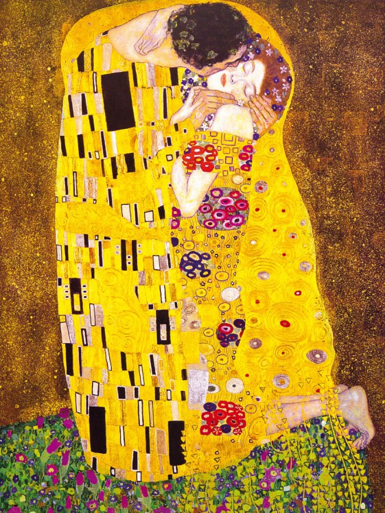 gustav klimt der kuss 1908 poster leinwand druck bild 80x60cm 60698 ebay. Black Bedroom Furniture Sets. Home Design Ideas