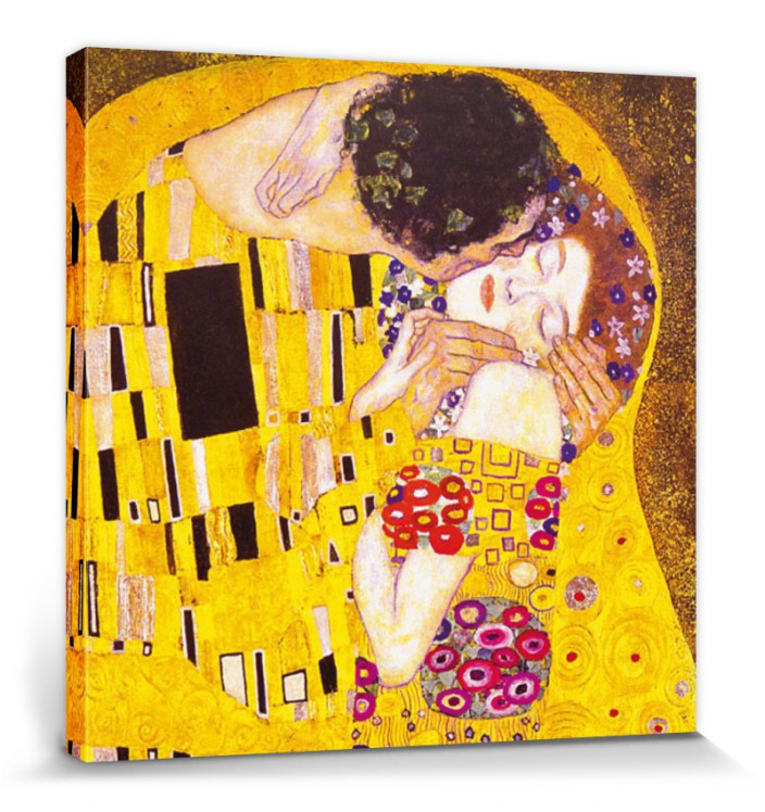 gustav klimt der kuss 1908 poster leinwand druck bild 70x70cm 60712 ebay. Black Bedroom Furniture Sets. Home Design Ideas