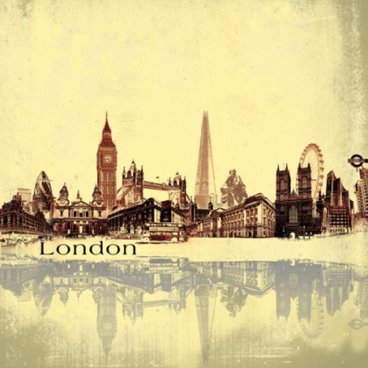 london city skyline collage retro poster leinwand druck bild 70x70cm 68862 ebay. Black Bedroom Furniture Sets. Home Design Ideas