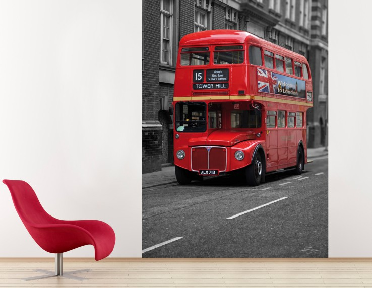 london doppeldecker bus poster foto tapete 250x180cm. Black Bedroom Furniture Sets. Home Design Ideas