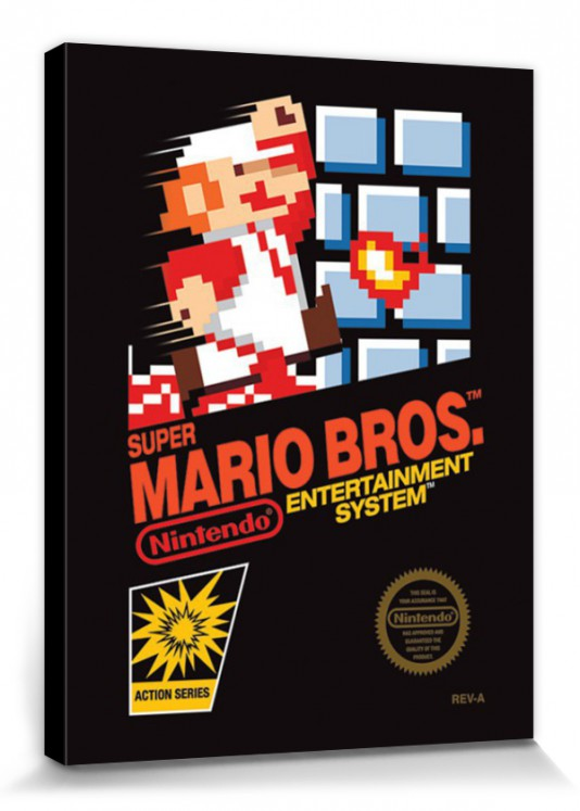 Super mario bros nes cover poster toile sur ch ssis for Poster sur toile