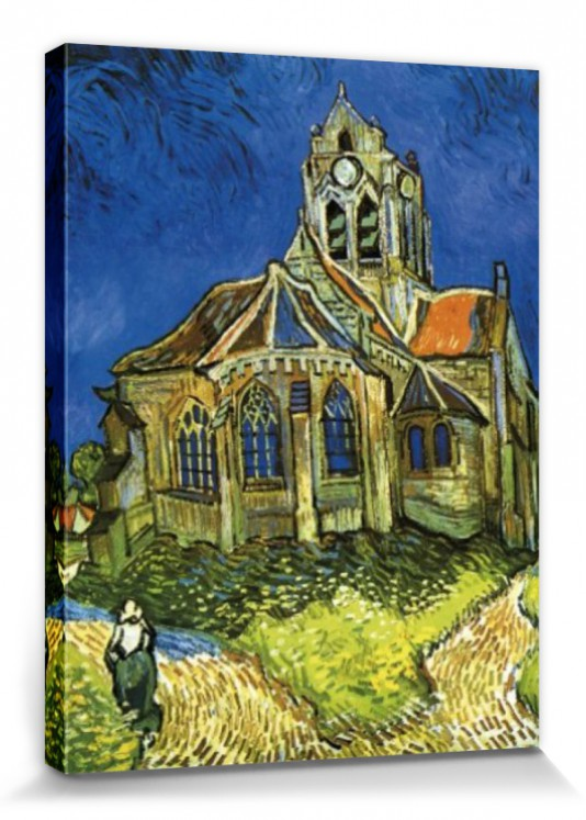 vincent van gogh kirche von auvers poster leinwand bild 80x60cm 56171 ebay. Black Bedroom Furniture Sets. Home Design Ideas