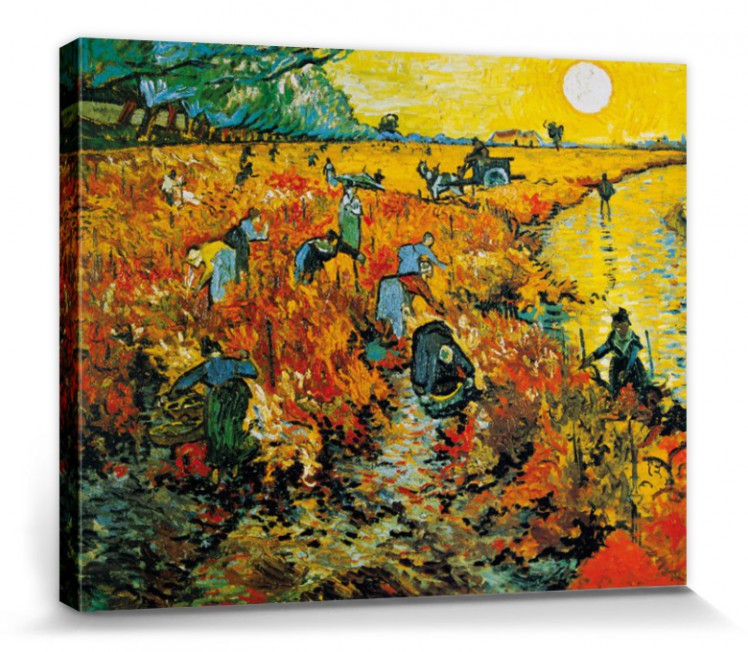vincent van gogh der rote weingarten poster leinwand druck 50x40cm 56190 ebay. Black Bedroom Furniture Sets. Home Design Ideas