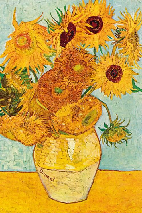 vincent van gogh 12 sonnenblumen vase poster leinwand druck 120x80cm 88710 ebay. Black Bedroom Furniture Sets. Home Design Ideas